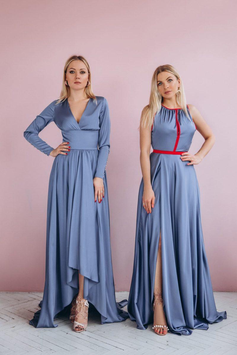 Сатиновое вечернее платье