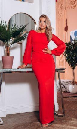 Ярко-красное длинное вечернее платье