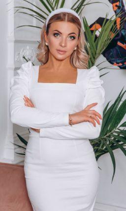 Белое вечернее платье длины миди