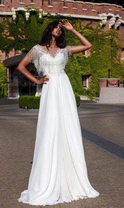 Легкое шифоновое свадебное платье