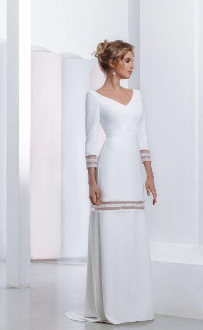 Элегантное свадебное платье  с длинными рукавами