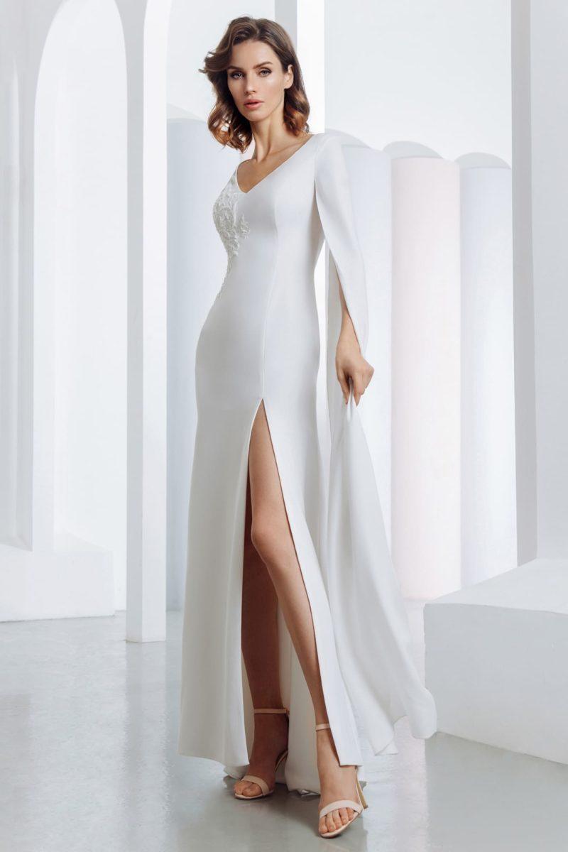 Атласное свадебное платье силуэта рыбка