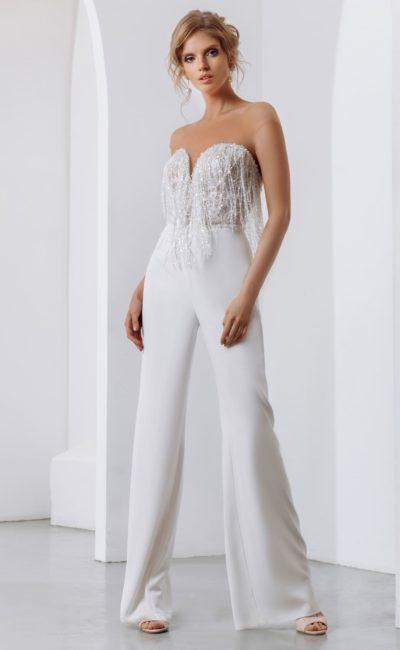 Свадебный женский костюм с брюками и топом