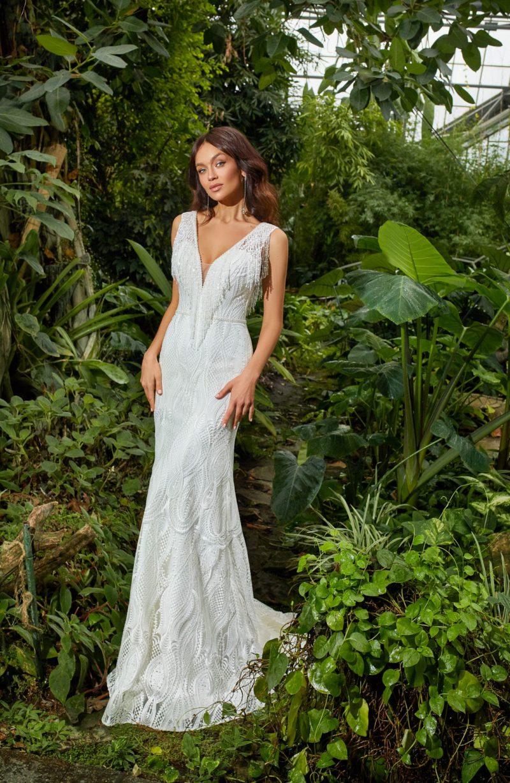 Свадебное платье силуэта русалка из плетеного кружева
