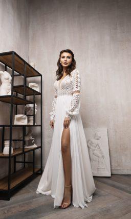 свадебное платье с кружевным верхом