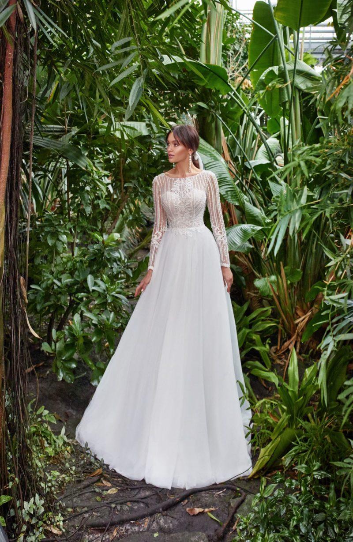свадебное платье с длинными рукавами и закрытым верхом