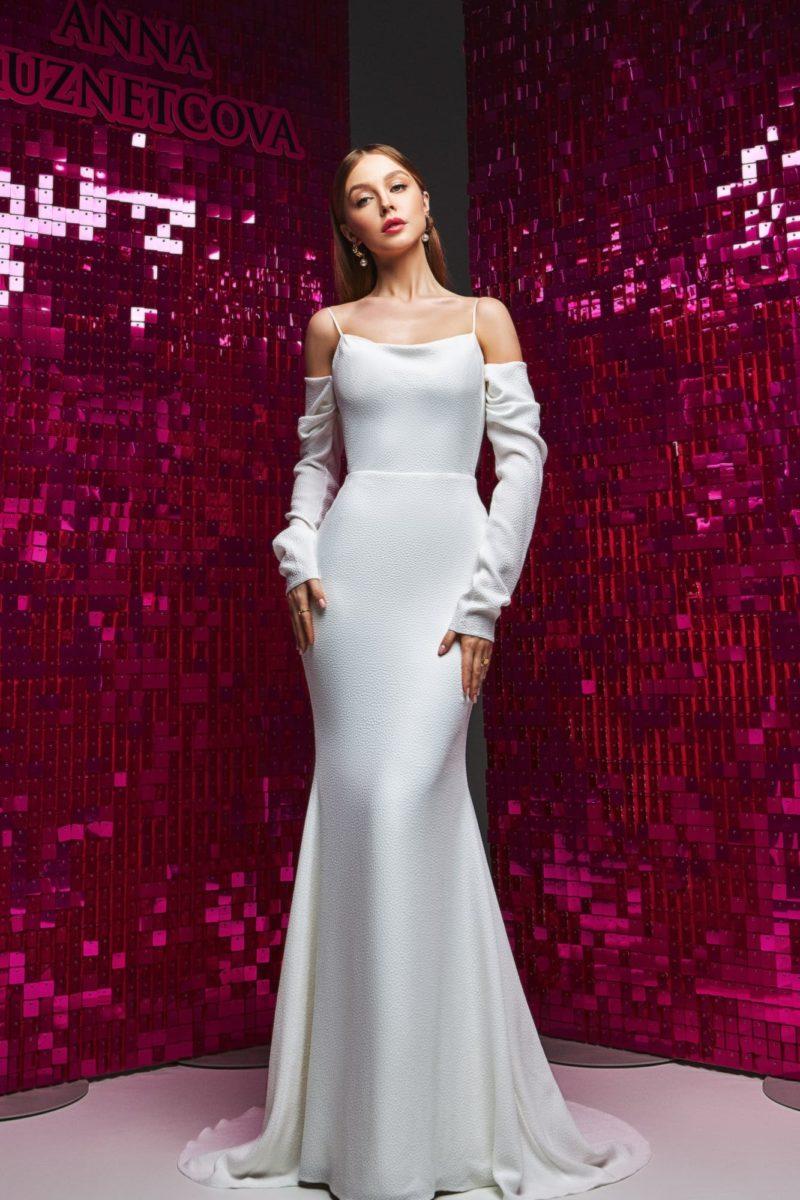 Свадебное платье со съемными рукавами