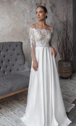 Свадебное платье с ажурным топом