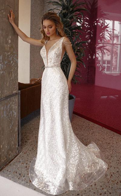 Блестящее свадебное платье рыбка