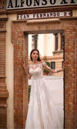 Свадебное платье с кружевным верхом и рукавами
