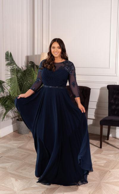 Свадебное платье из шифона в элегантном темно-синем оттенке