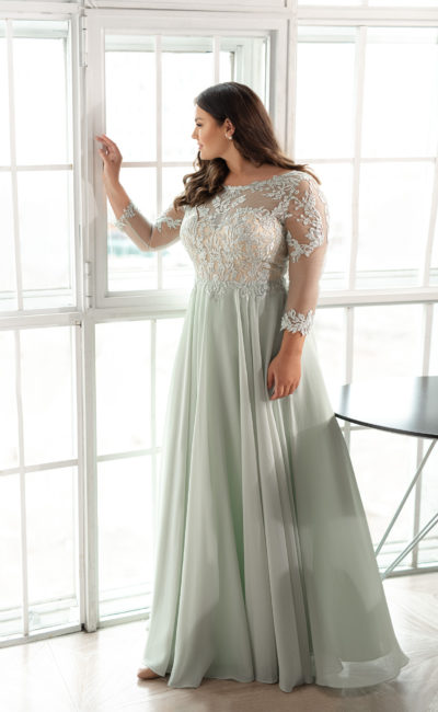 Свадебное платье с шифоновой юбкой светло-фисташкового оттенка