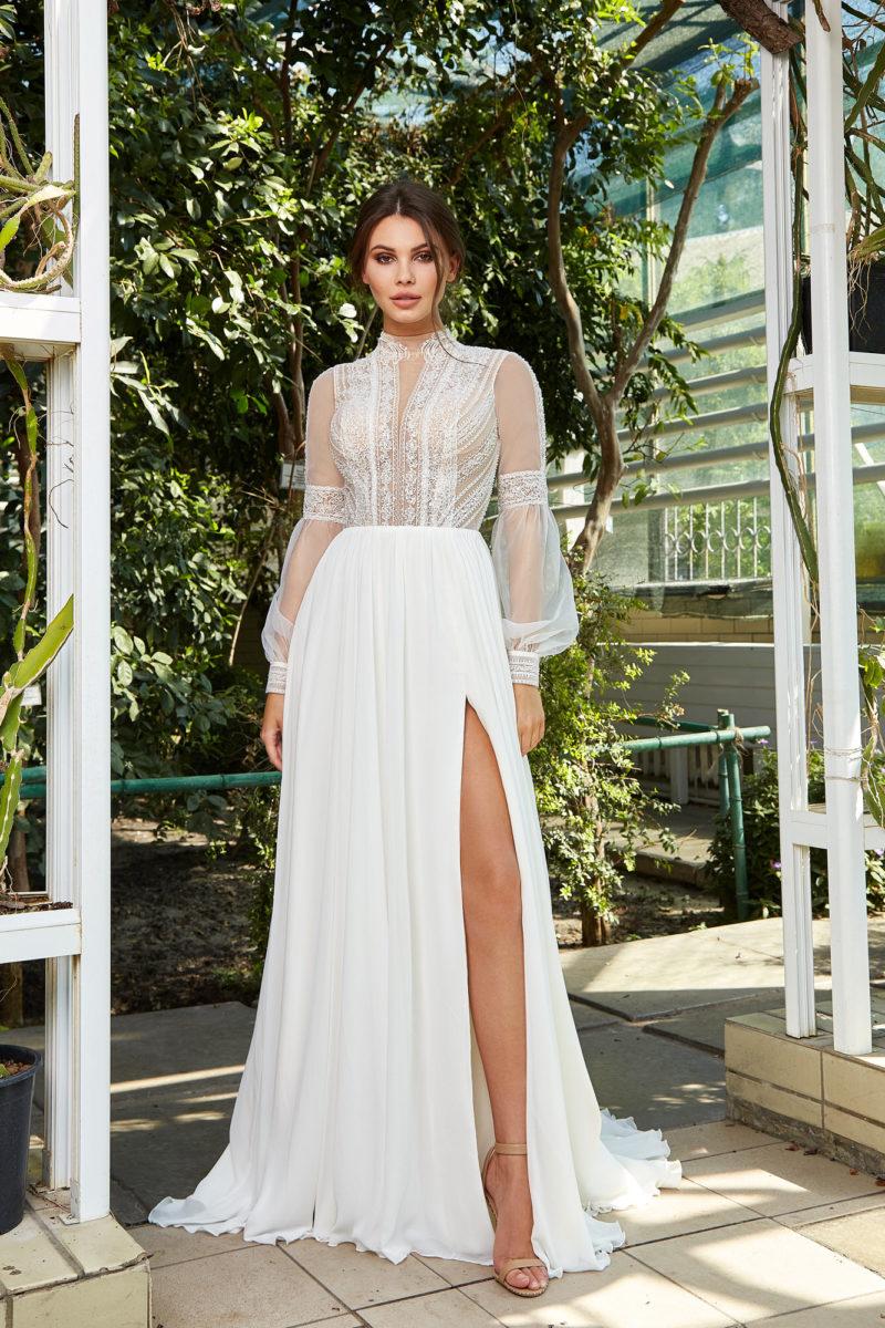 Свадебное платье с романтичным сочетанием тканей
