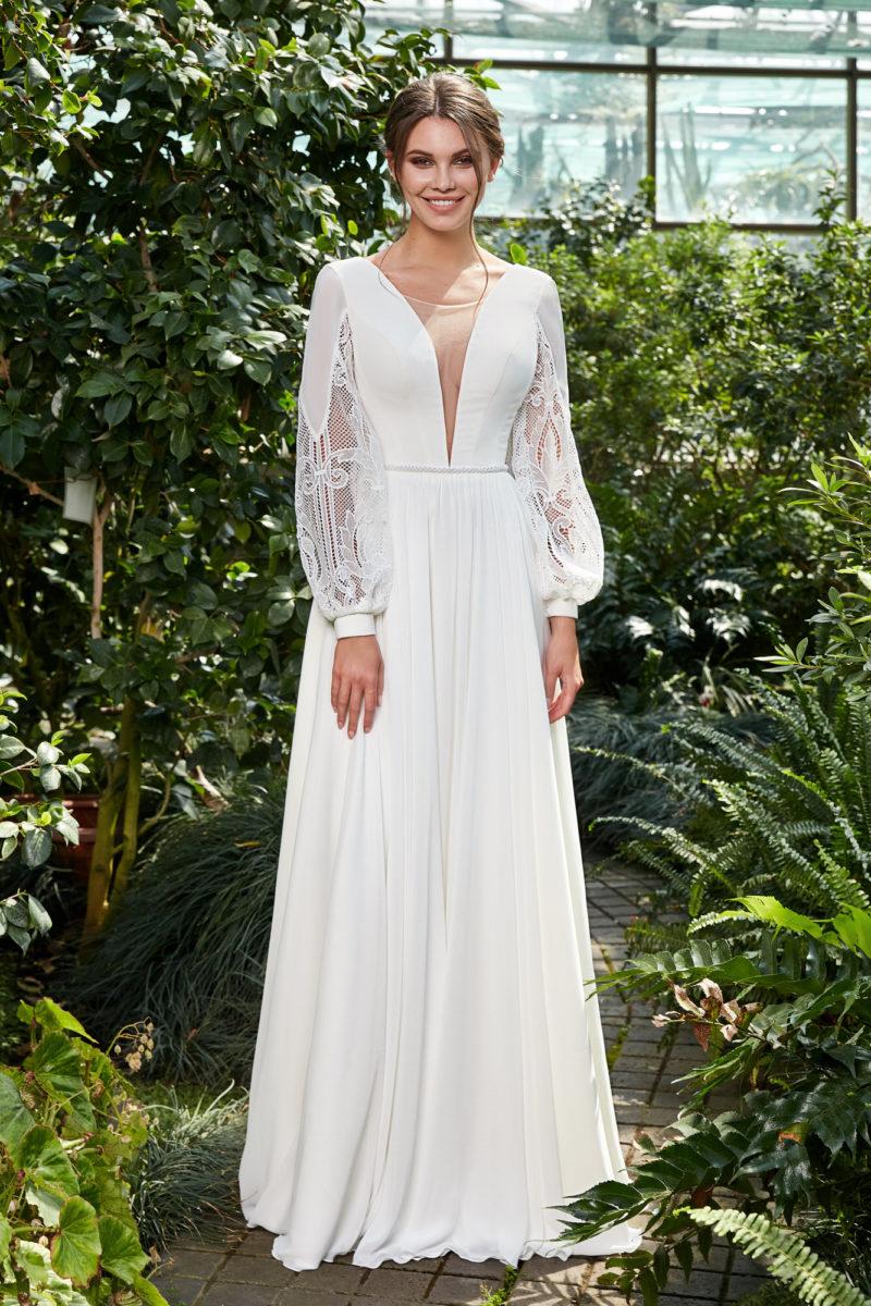 Свадебное платье с атласным расколотым корсетом
