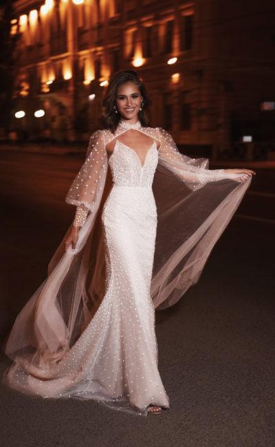 Свадебное платье из ткани в горошек