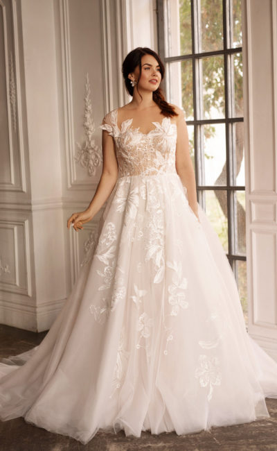 Свадебное платье большого размера в легком оттенке айвори