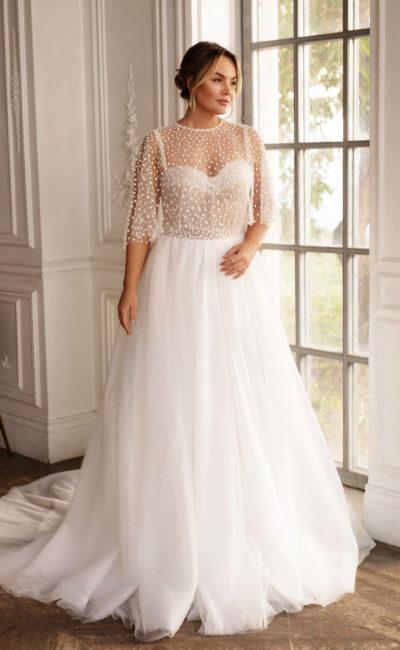 Свадебное платье большого размера с А-образным фасоном