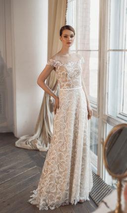 Бежевое кружевное платье свадебное