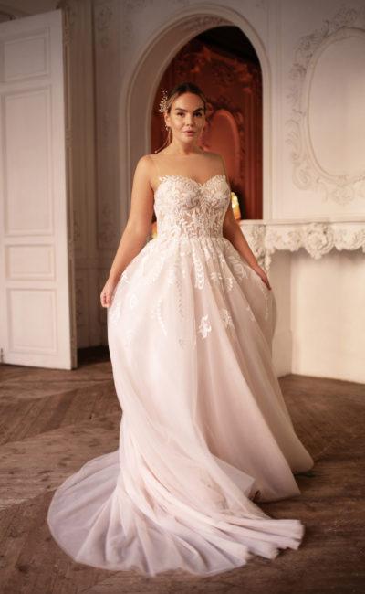 Пудровое свадебное платье большого размера