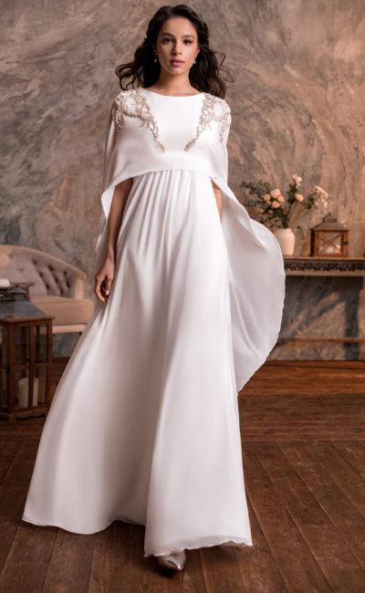 Свадебное платье из струящегося белого шифона
