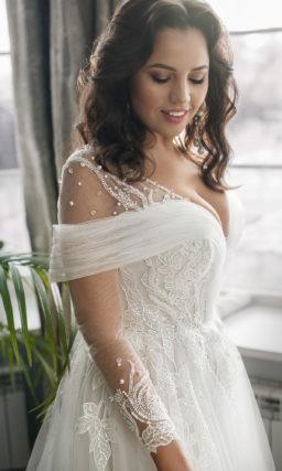 свадебное платье plus size с длинными рукавами