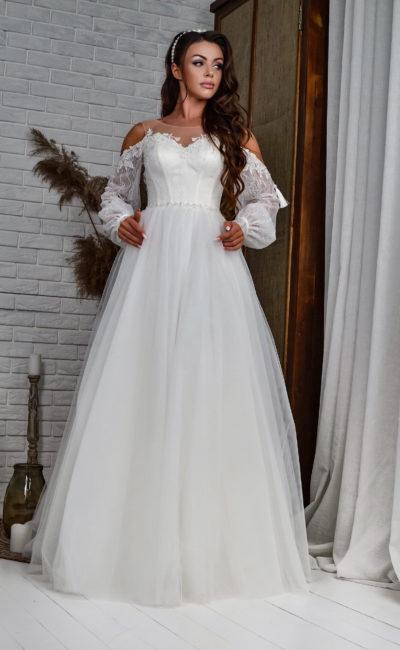 свадебное платье с длинными рукавами-фонариками