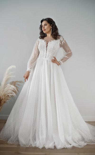 Свадебное платье plus size с кружевной тесьмой