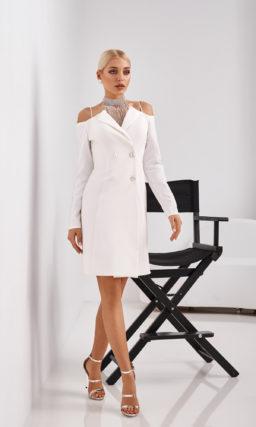 Короткое стильное свадебное платье-пальто
