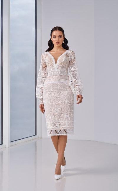 Вязаное короткое свадебное платье