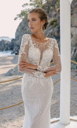 """Свадебное платье """"рыбка"""" с длинными рукавами"""