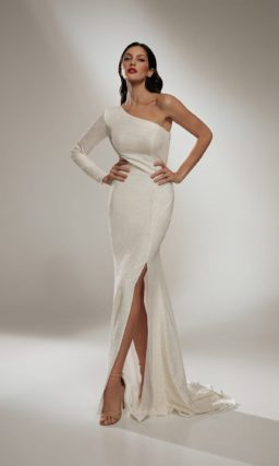 Платье свадебное русалка на одно плечо