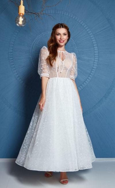 Короткое свадебное платье миди с рукавами