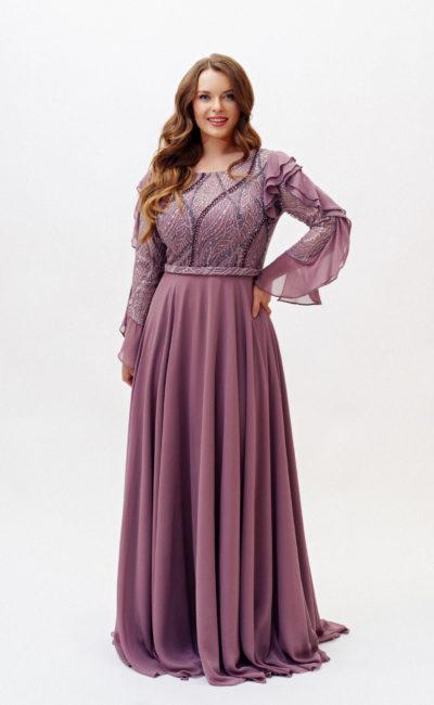 Платье фиолетовое plus size