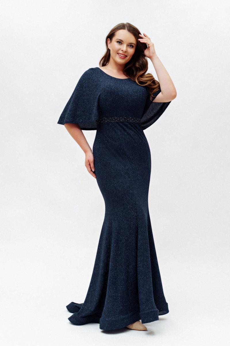 Темно-синее платье русалка plus size