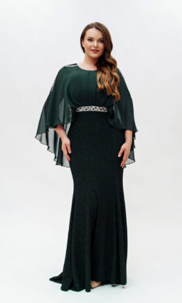 Зеленое платье с накидкой