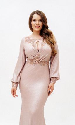 Розовое платье plus size рыбка с рукавом