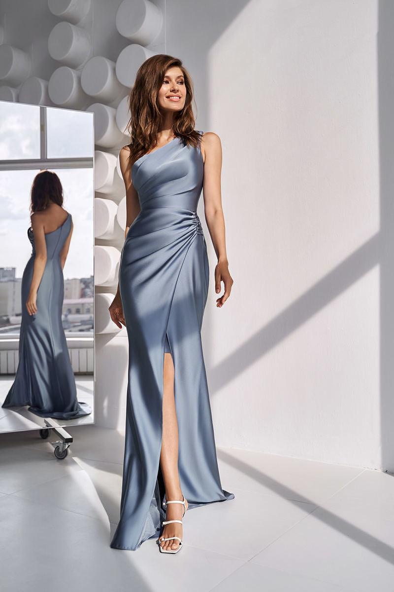 Серое платье-русалка на выпускной
