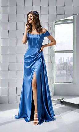 Синее платье для выпускного вечера