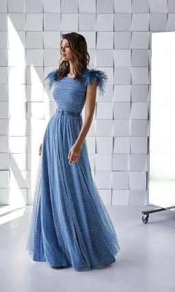 Голубое красивое платье в пол