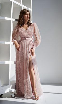 Розовое платье на свадьбу с рукавами