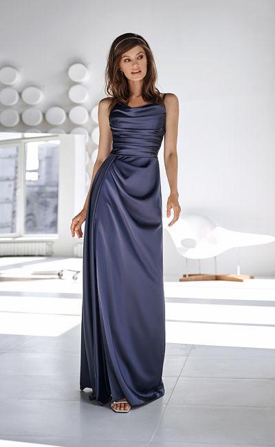 Коктейльное темно-синее платье