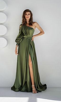 Зеленое платье с одним рукавом