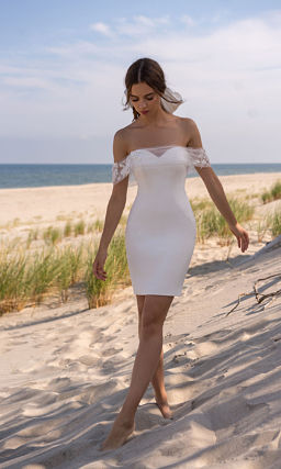 Короткое свадебное платье со съемным шлейфом